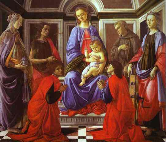 'Madonna and Child with Six Saints', Oil by Alessandro Botticelli (1445-1510, Italy)