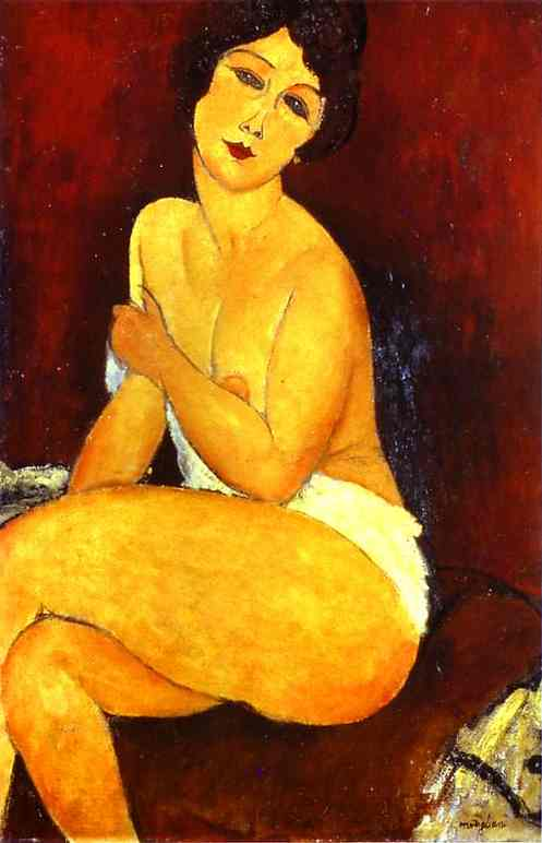'Seated Nude on Divan', Oil by Amedeo Modigliani (1884-1920, Italy)