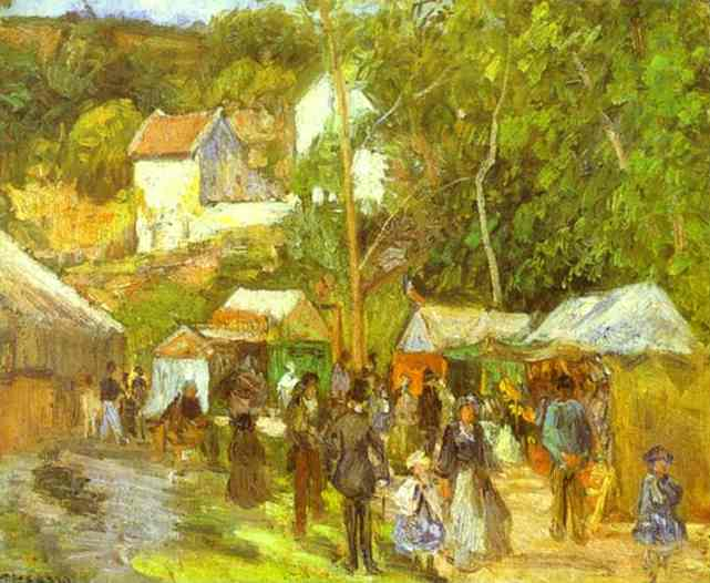 A Fair at the Hermitage near Pontoise by Camille Pissarro (1830-1903, France) | WahooArt.com