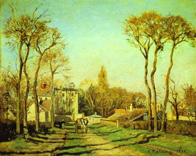 'Entrance to the Village of Voisins', Oil by Camille Pissarro (1830-1903, France)