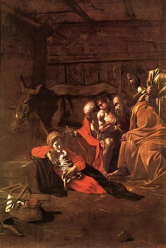 'Adoration Of The Shepherds', Oil by Caravaggio - Michelangelo Merisi (1571-1610, Italy)