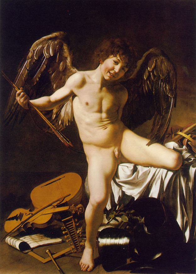 'Amor Victorious', Oil by Caravaggio - Michelangelo Merisi (1571-1610, Italy)