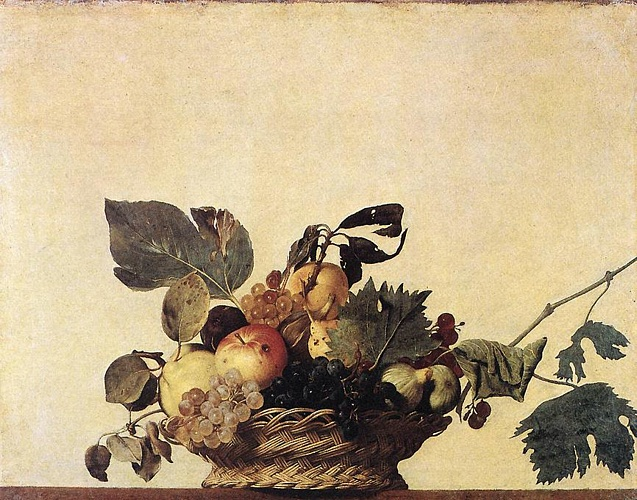 'Basket Of Fruit', Oil by Caravaggio - Michelangelo Merisi (1571-1610, Italy)