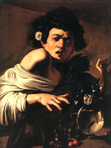 'Boy Bitten By A Lizard - Florence', Oil by Caravaggio - Michelangelo Merisi (1571-1610, Italy)