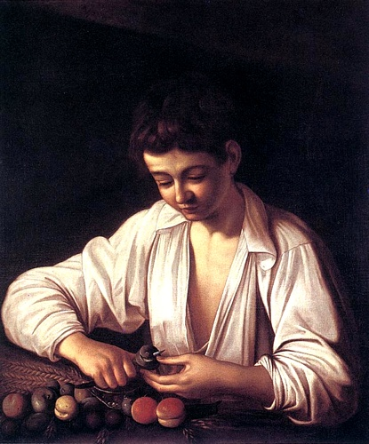 Boy Peeling A Fruit by Caravaggio - Michelangelo Merisi (1571-1610, Italy) | Museum Quality Reproductions | WahooArt.com