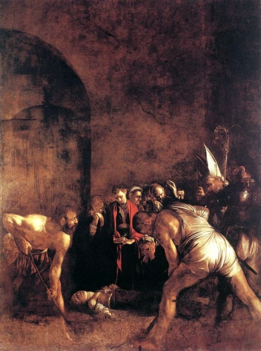 'Burial Of St Lucy', Oil by Caravaggio - Michelangelo Merisi (1571-1610, Italy)