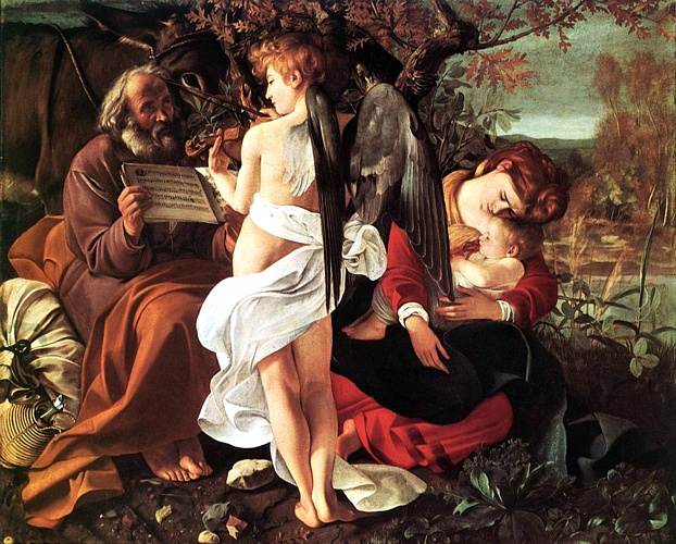 Rest On Flight To Egypt by Caravaggio - Michelangelo Merisi (1571-1610, Italy) | Oil Painting | WahooArt.com