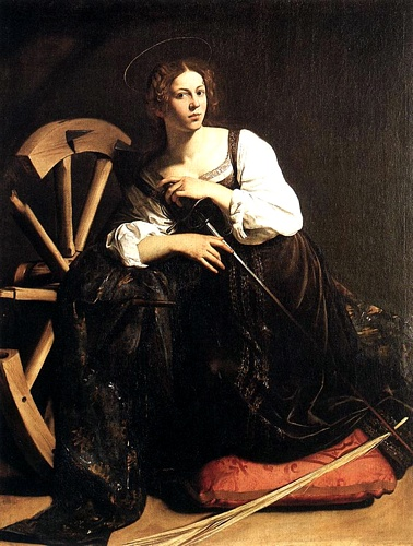 'St Catherine Of Alexandria', Oil by Caravaggio - Michelangelo Merisi (1571-1610, Italy)