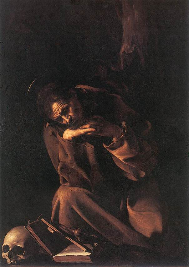 'Saint Francis in Meditation', Oil by Caravaggio - Michelangelo Merisi (1571-1610, Italy)