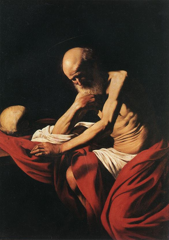 'Saint Jerome in Meditation', Oil by Caravaggio - Michelangelo Merisi (1571-1610, Italy)