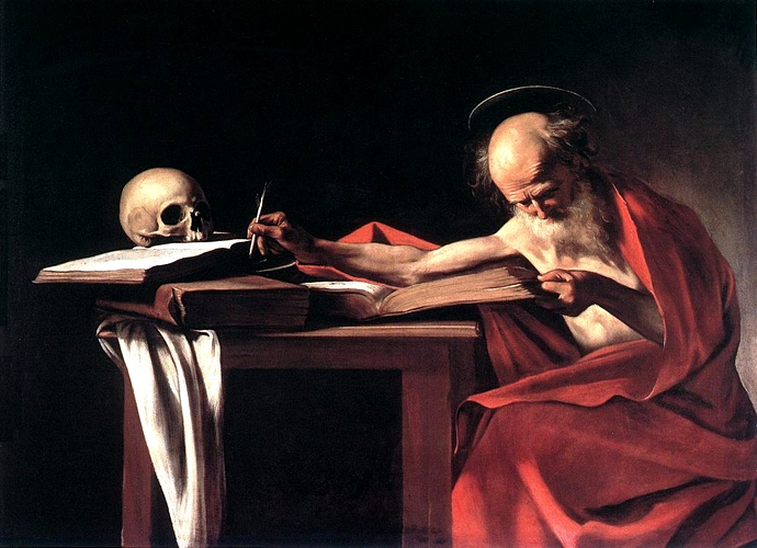 'St Jerome, 1606', Oil by Caravaggio - Michelangelo Merisi (1571-1610, Italy)