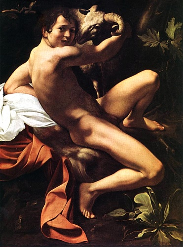 'St John The Baptist, 1600', Oil by Caravaggio - Michelangelo Merisi (1571-1610, Italy)