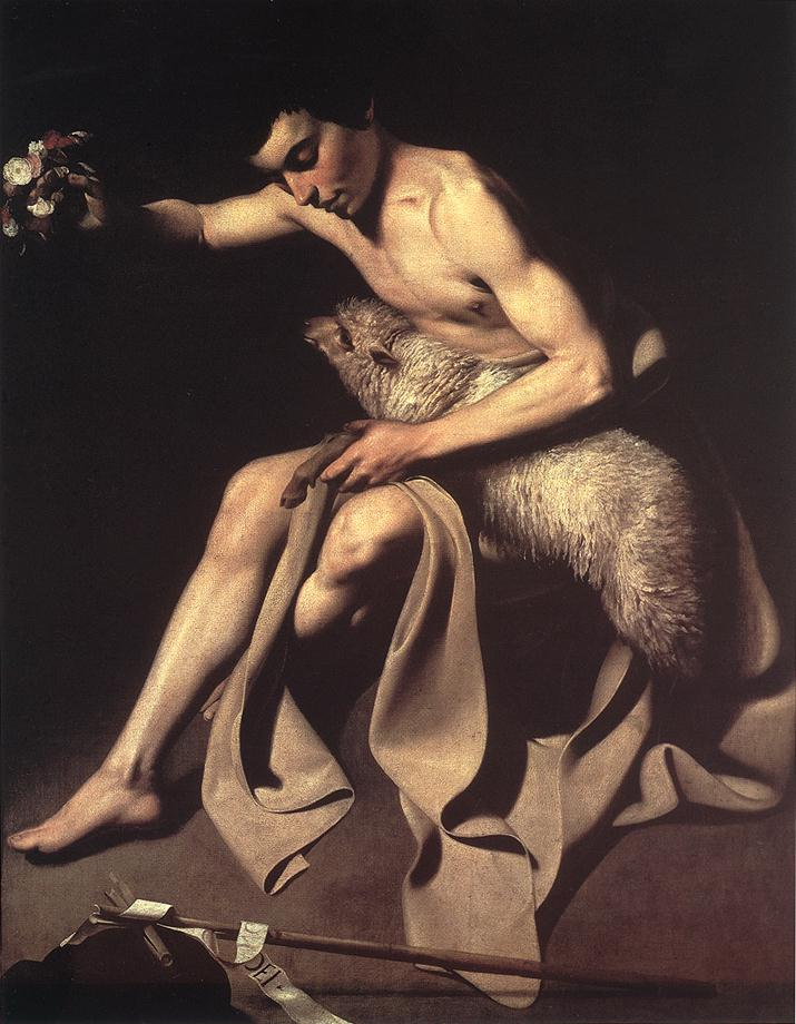 'St John The Baptist', Oil by Caravaggio - Michelangelo Merisi (1571-1610, Italy)