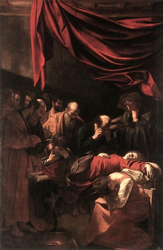 'The Death Of The Virgin', Oil by Caravaggio - Michelangelo Merisi (1571-1610, Italy)