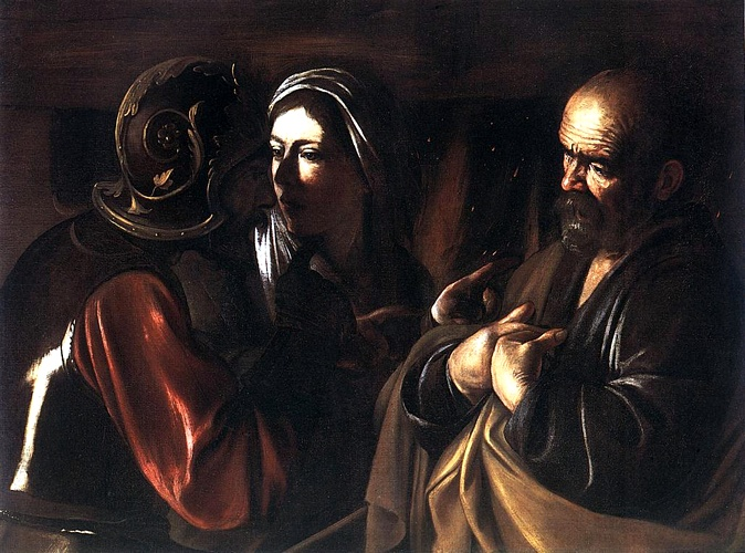 'The Denial Of St Peter', Oil by Caravaggio - Michelangelo Merisi (1571-1610, Italy)