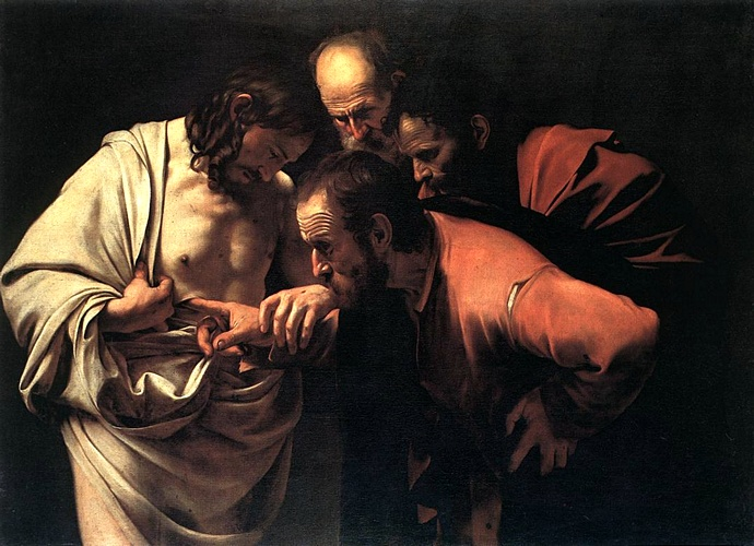 'The Incredulity Of Saint Thomas', Oil by Caravaggio - Michelangelo Merisi (1571-1610, Italy)