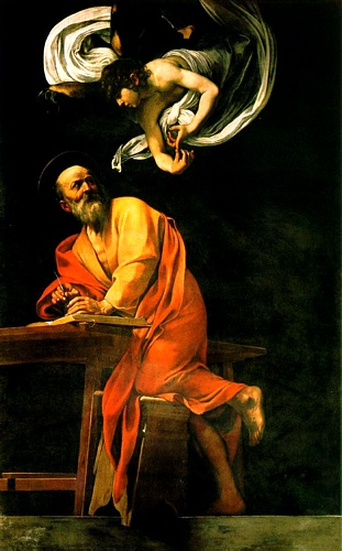 'The Inspiration Of Saint Matthew', Oil by Caravaggio - Michelangelo Merisi (1571-1610, Italy)