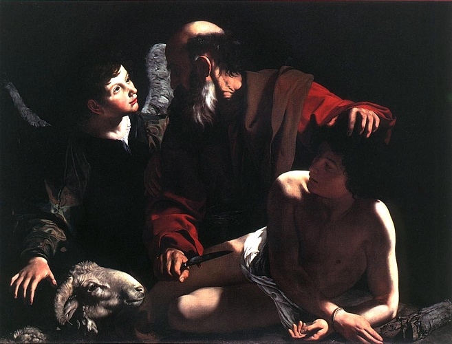 'The Sacrifice Of Isaac, 1605', Oil by Caravaggio - Michelangelo Merisi (1571-1610, Italy)