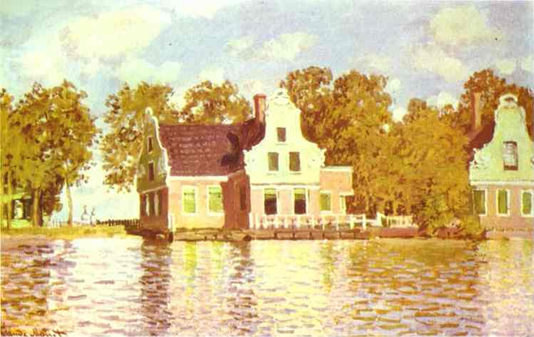 'The House on the River Zaan in Zaandam', Oil by Claude Monet (1840-1926, France)