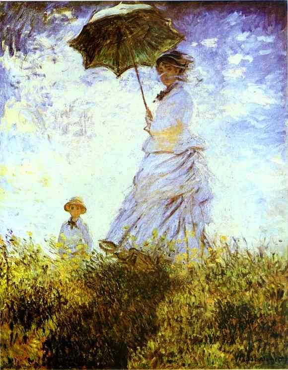 'The Walk. Lady with a Parasol', Oil by Claude Monet (1840-1926, France)