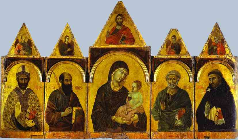 Polyptych No. 28 (The Holy Virgin with the Christ Child and Four Saints) by Duccio Di Buoninsegna (1255-1318, Italy) | Famous Paintings Reproductions | WahooArt.com