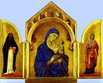 Duccio Di Buoninsegna - Triptych (The Holy Virgin and the Christ Child with St. Dominic and St. Aurea)