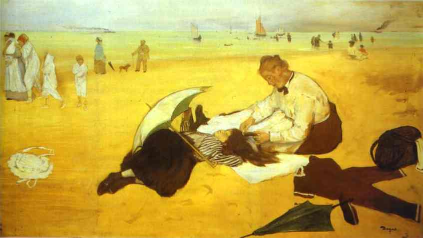'At the Beach', Oil by Edgar Degas (1834-1917, France)