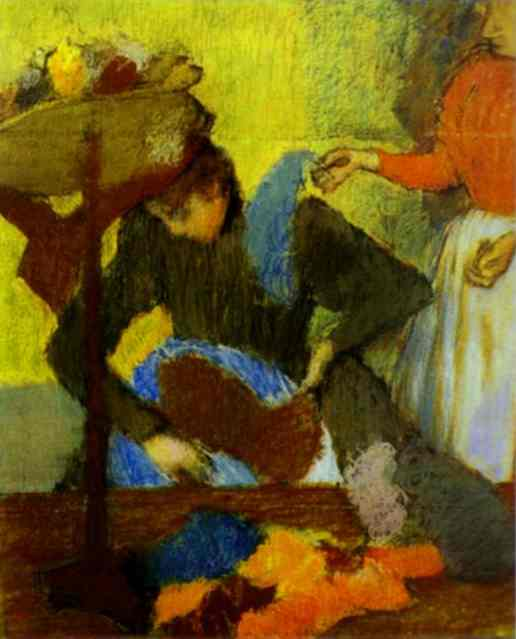 'At the Milliner's', Oil by Edgar Degas (1834-1917, France)