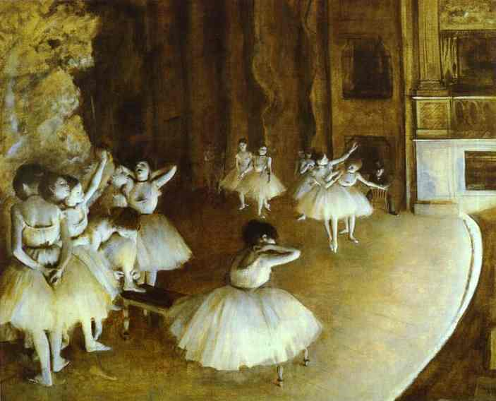 'Ballet Rehearsal on Stage', Oil by Edgar Degas (1834-1917, France)
