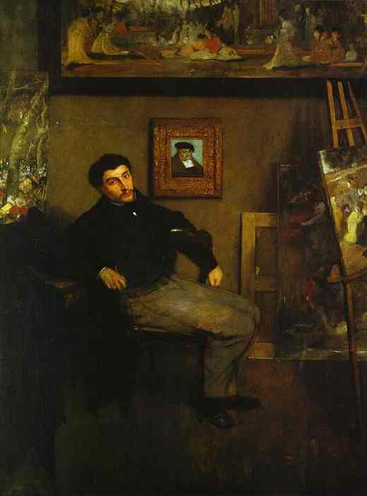 'Portrait of the Artist James Tissot', Oil by Edgar Degas (1834-1917, France)