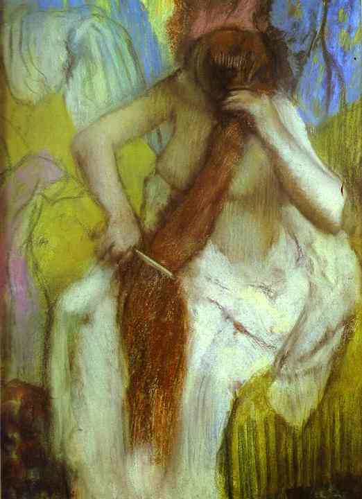 quotwoman combing her hairquot oil by edgar degas 18341917