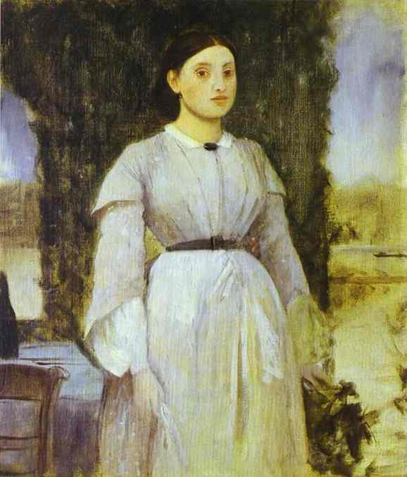 'Young Woman Standing Next to a Table', Oil by Edgar Degas (1834-1917, France)