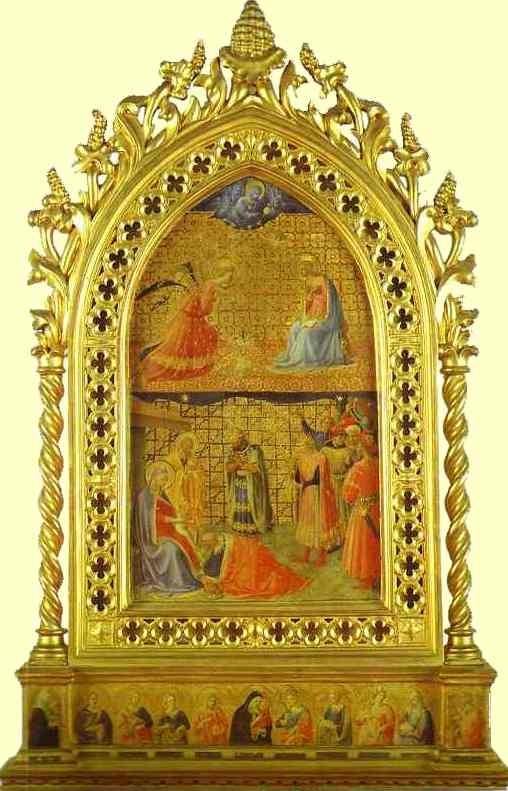 'Annunciation and Adoration of the Magi', Oil by Fra Angelico (1400-1455, Italy)