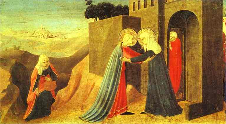 'Annunciation. The Visitation', Oil by Fra Angelico (1400-1455, Italy)