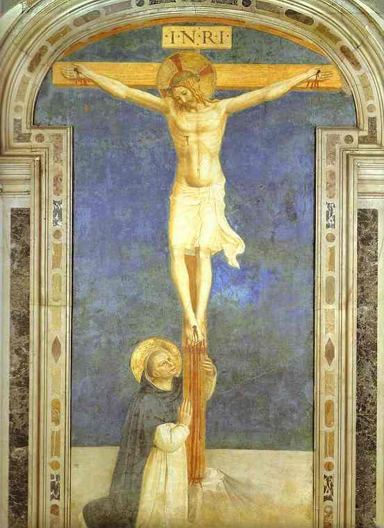 'Christ on the Cross Adored by St. Dominic', Oil by Fra Angelico (1400-1455, Italy)