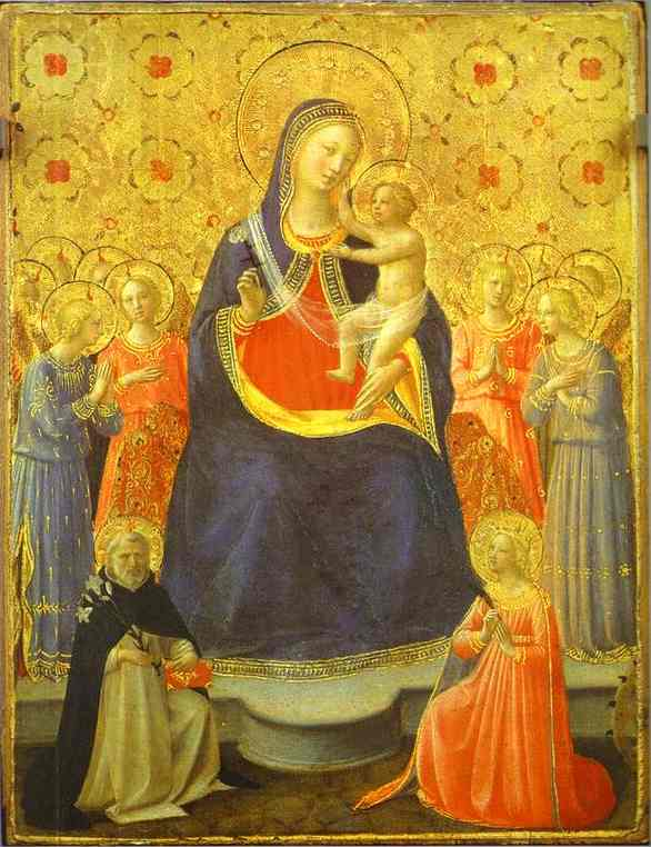 'Madonna with Angels and the Saints Dominic and Catherine', Oil by Fra Angelico (1400-1455, Italy)