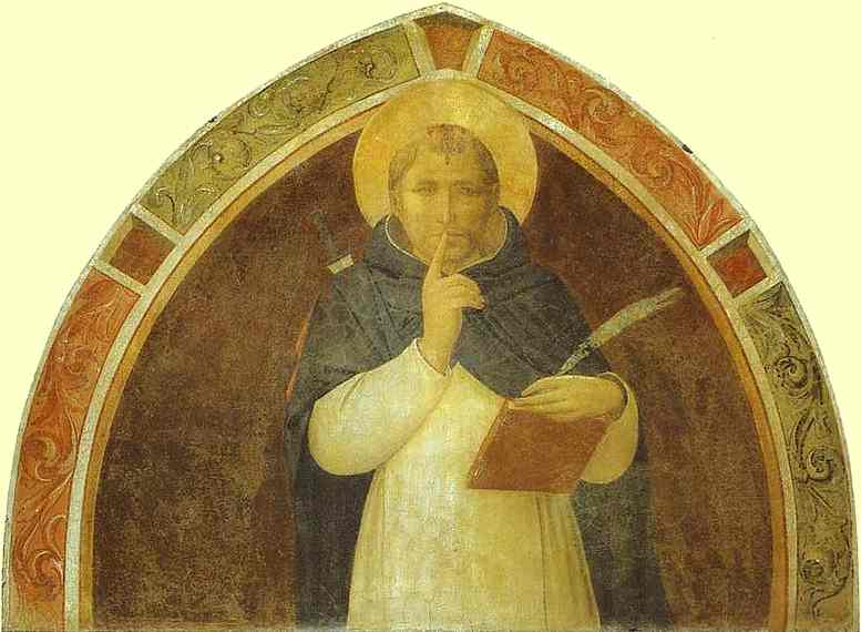 'Peter Martyr Enjoins Silence', Oil by Fra Angelico (1400-1455, Italy)
