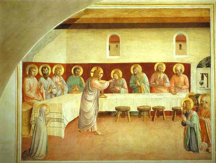 'The Institution of the Eucharist', Oil by Fra Angelico (1400-1455, Italy)