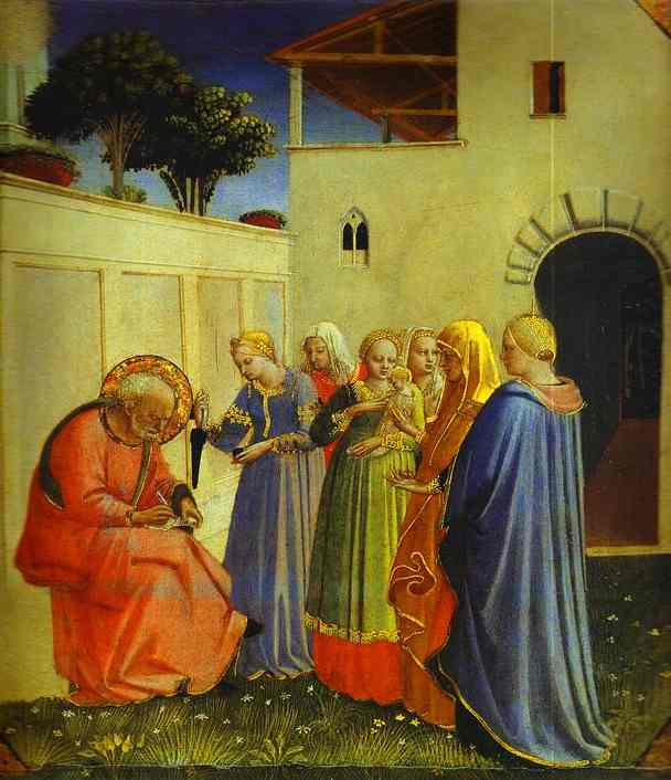 'The Naming of John', Oil by Fra Angelico (1400-1455, Italy)
