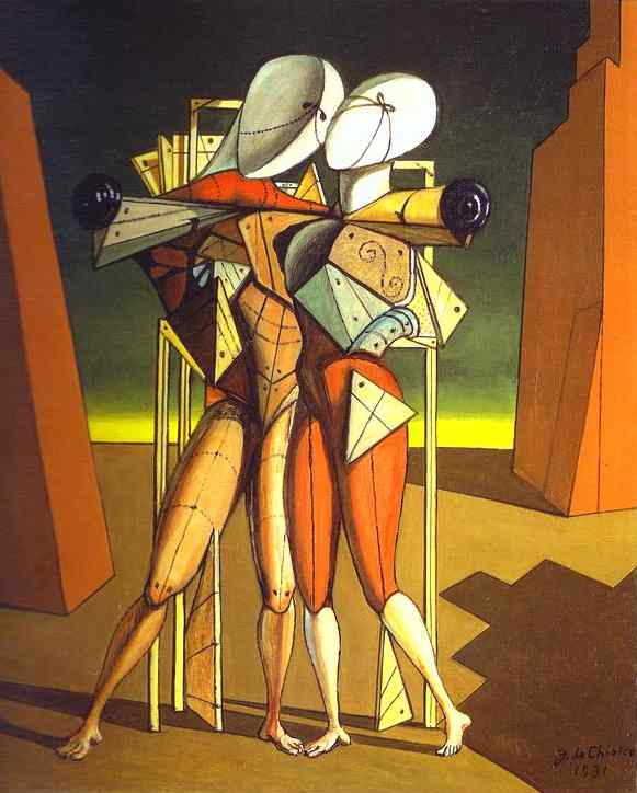 'Hector and Andromache', Oil by Giorgio De Chirico (1888-1978, Greece)