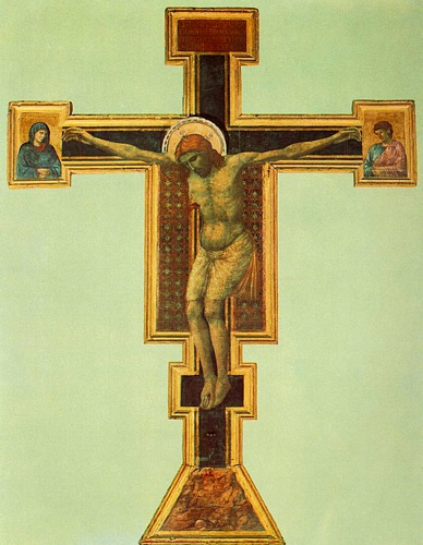 'Crucifix (Florence)', Oil by Giotto - Ambrogio Bondone (1267-1337, Italy)