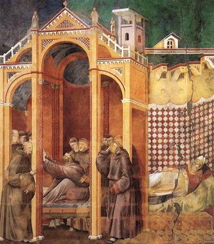 Legend of St Francis - [21] - Apparition to Fra Agostino and to Bishop Guido of Arezzo by Giotto - Ambrogio Bondone (1267-1337, Italy) | Painting Copy | WahooArt.com
