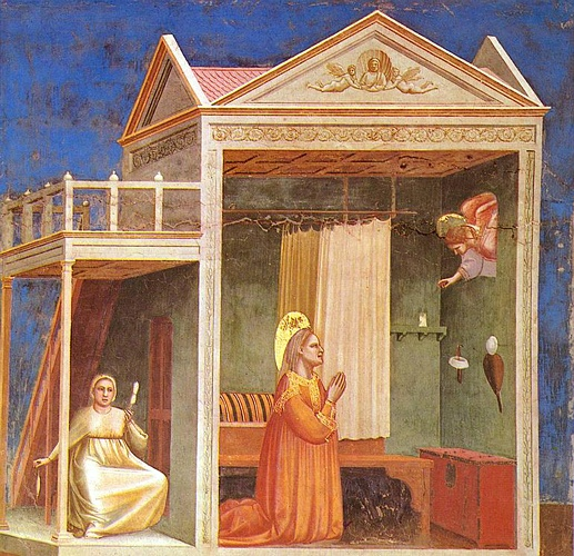 Scrovegni - [03] - Annunciation to St Anne by Giotto - Ambrogio Bondone (1267-1337, Italy) | Oil Painting | WahooArt.com
