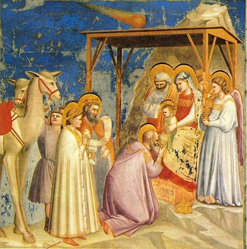'Scrovegni - [18] - Adoration of the Magi', Oil by Giotto - Ambrogio Bondone (1267-1337, Italy)
