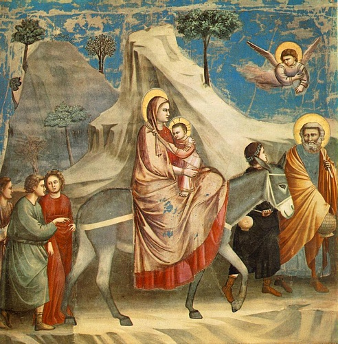 Scrovegni - [20] - Flight into Egypt by Giotto - Ambrogio Bondone (1267-1337, Italy) | Painting Copy | WahooArt.com