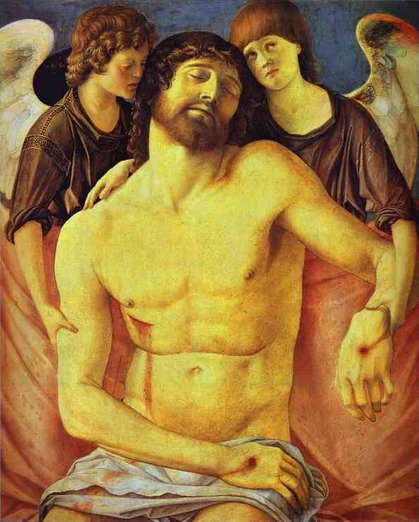 'Dead Christ Supported by Two Angels', Oil by Giovanni Bellini (1430-1516, Italy)