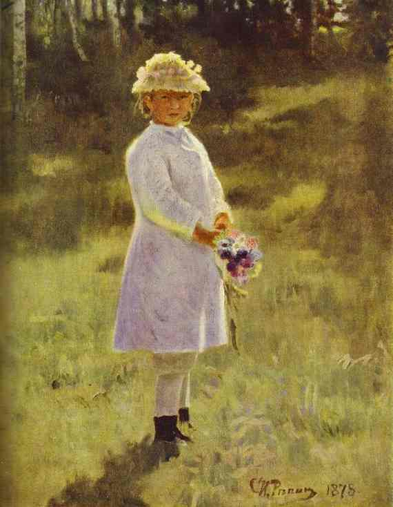 'Girl with Flowers. Daughter of the Artist', Oil by Ilya Repin (1844-1930, Finland)