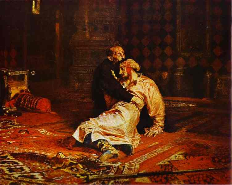 'Ivan the Terrible and His Son Ivan on November 16, 1885', Oil by Ilya Repin (1844-1930, Finland)