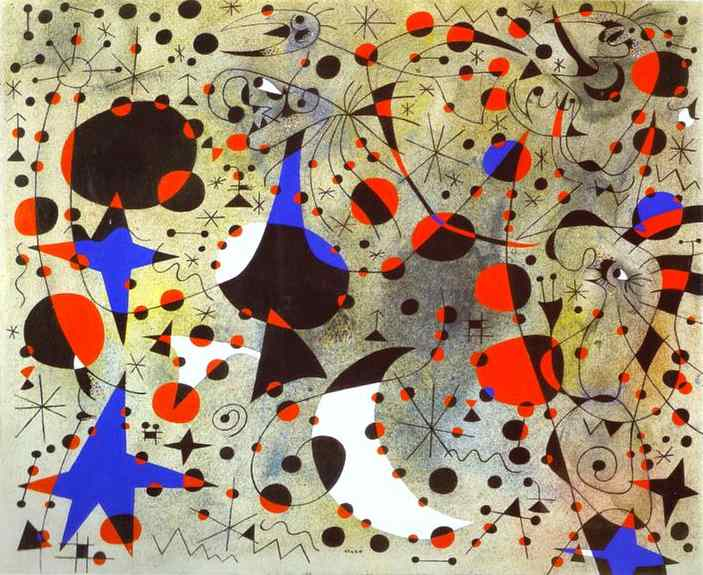 'The Nightingale's Song at Midnight and the Morning Rain', Oil by Joan Miro (1893-1983, Spain)