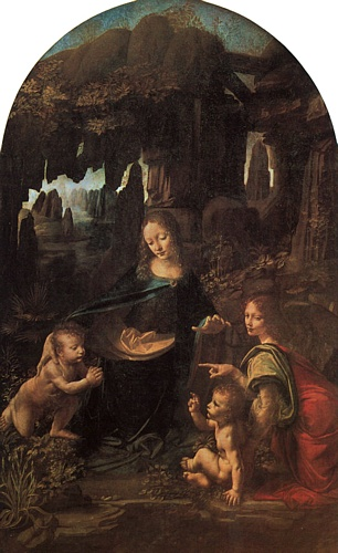 'Virgin of the Rocks - Paris', Oil by Leonardo Da Vinci (1452-1519, Italy)